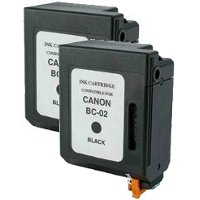 Canon BC-02 Black Professionally Remanufactured BubbleJet Printhead Inkjet Cartridges (2/Pack)