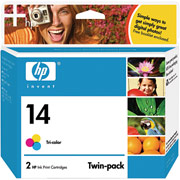 Hewlett Packard HP C9342FN ( HP 14 ) InkJet Cartridge Twin Pack