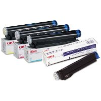 A Set of 4 Okidata Laser Toner Cartridges 1 of each color ( 41012301 , 41012302 , 41012303 , 41012304 )
